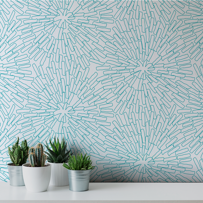 Basket - Turquoise <br> Victoria Larson - Trendy Custom Wallpaper | Contemporary Wallpaper Designs | The Detroit Wallpaper Co.
