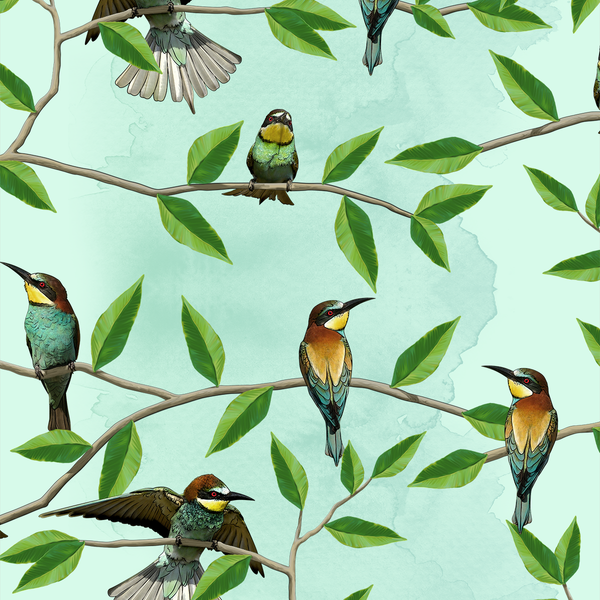 Bee Eater - Garden - Trendy Custom Wallpaper | Contemporary Wallpaper Designs | The Detroit Wallpaper Co.