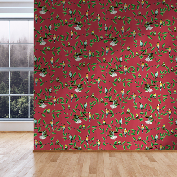 Bee Eater - Berry - Trendy Custom Wallpaper | Contemporary Wallpaper Designs | The Detroit Wallpaper Co.