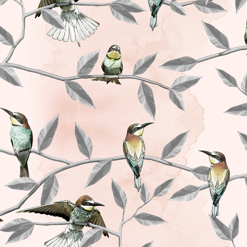 Bee Eater - Blush - Trendy Custom Wallpaper | Contemporary Wallpaper Designs | The Detroit Wallpaper Co.