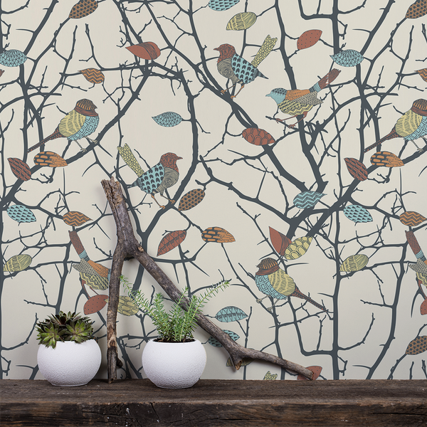 Birdz - Finch - Trendy Custom Wallpaper | Contemporary Wallpaper Designs | The Detroit Wallpaper Co.