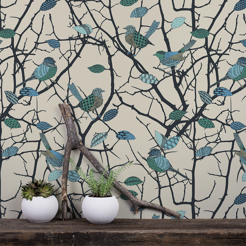 Birdz - Wren - Trendy Custom Wallpaper | Contemporary Wallpaper Designs | The Detroit Wallpaper Co.