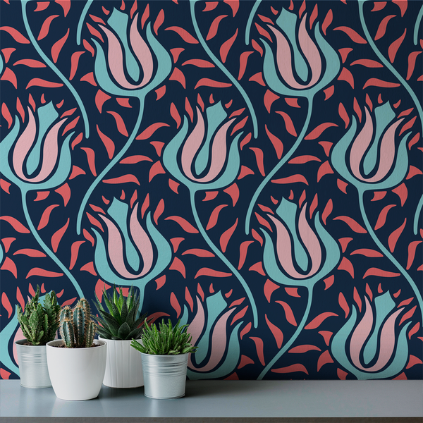 Budding - Dahlia - Trendy Custom Wallpaper | Contemporary Wallpaper Designs | The Detroit Wallpaper Co.