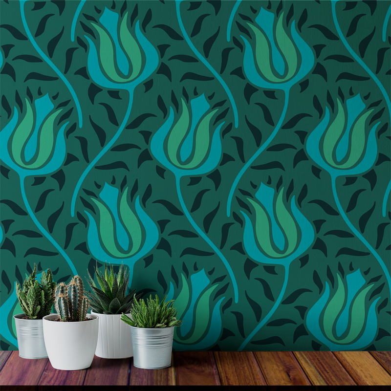 Budding - Emerald - Trendy Custom Wallpaper | Contemporary Wallpaper Designs | The Detroit Wallpaper Co.