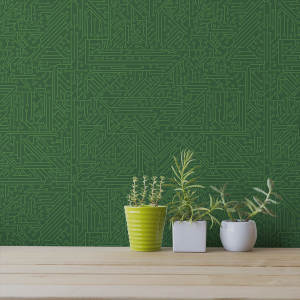 Circuit Board - Silicon - Trendy Custom Wallpaper | Contemporary Wallpaper Designs | The Detroit Wallpaper Co.