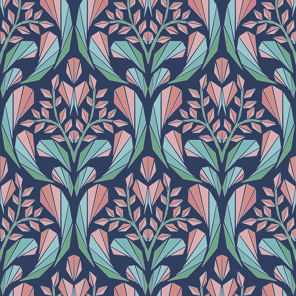 Cora - Navy - Trendy Custom Wallpaper | Contemporary Wallpaper Designs | The Detroit Wallpaper Co.