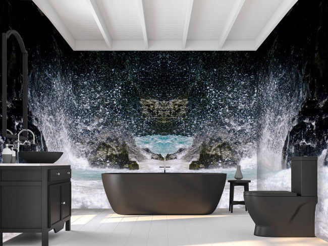 Crashing Waves <br> Brenda Rosenberg - Trendy Custom Wallpaper | Contemporary Wallpaper Designs | The Detroit Wallpaper Co.