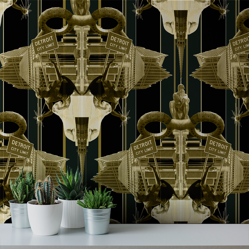 Damask Detroit - Woodward - Trendy Custom Wallpaper | Contemporary Wallpaper Designs | The Detroit Wallpaper Co.