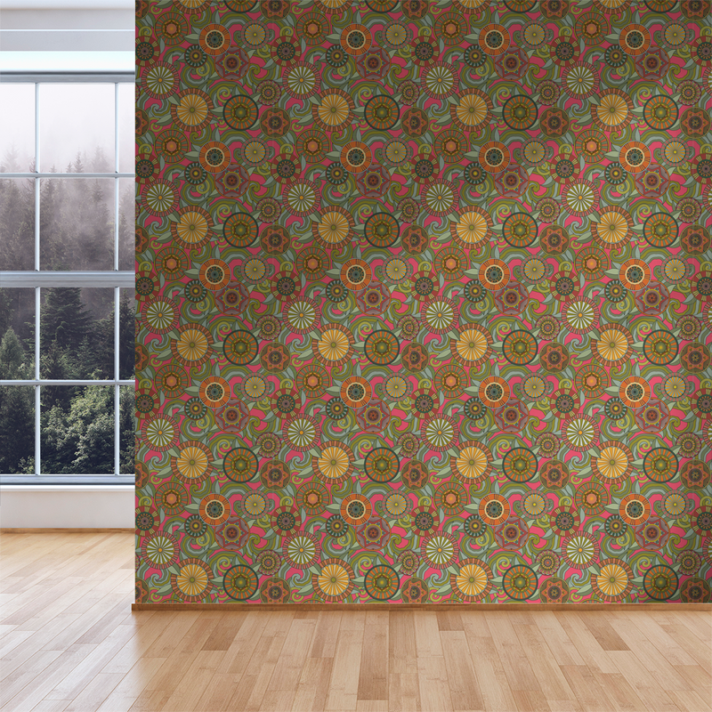 Deco Garden - Fuchsia - Trendy Custom Wallpaper | Contemporary Wallpaper Designs | The Detroit Wallpaper Co.