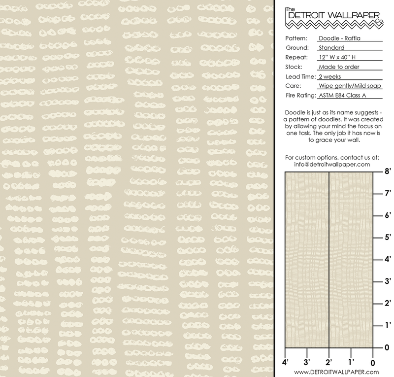 Doodle - Raffia - Trendy Custom Wallpaper | Contemporary Wallpaper Designs | The Detroit Wallpaper Co.