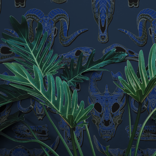 Draco - Navy - Trendy Custom Wallpaper | Contemporary Wallpaper Designs | The Detroit Wallpaper Co.