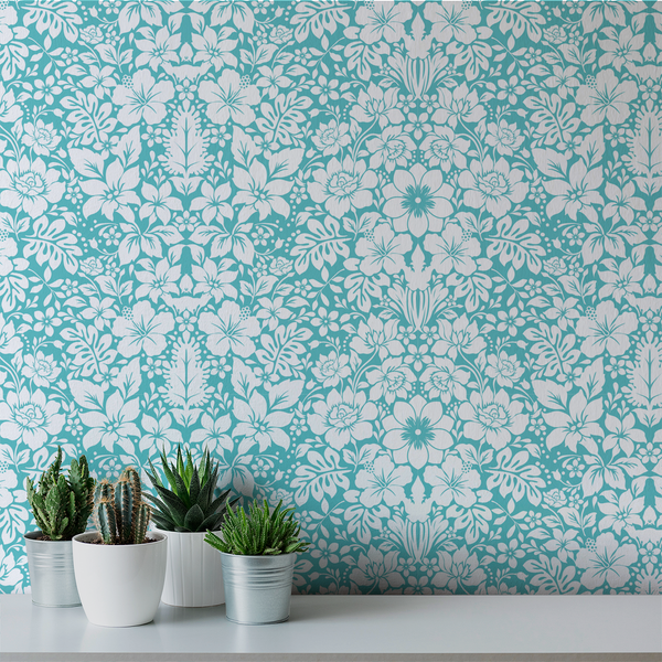 Fleur - Azure - Trendy Custom Wallpaper | Contemporary Wallpaper Designs | The Detroit Wallpaper Co.