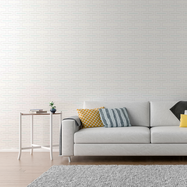 Floating Fret - Crisp - Trendy Custom Wallpaper | Contemporary Wallpaper Designs | The Detroit Wallpaper Co.