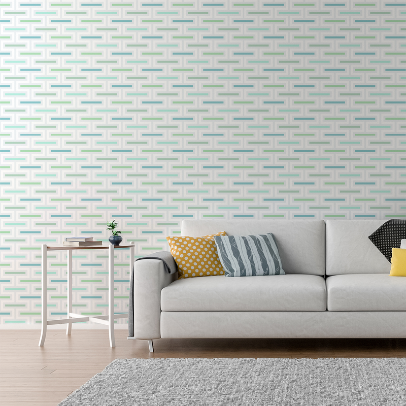 Floating Fret - Peel and Stick Wallpaper - Trendy Custom Wallpaper | Contemporary Wallpaper Designs | The Detroit Wallpaper Co.