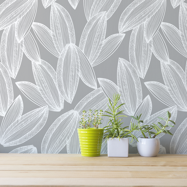 Foliage - Overcast <br> Elizabeth Salonen - Trendy Custom Wallpaper | Contemporary Wallpaper Designs | The Detroit Wallpaper Co.