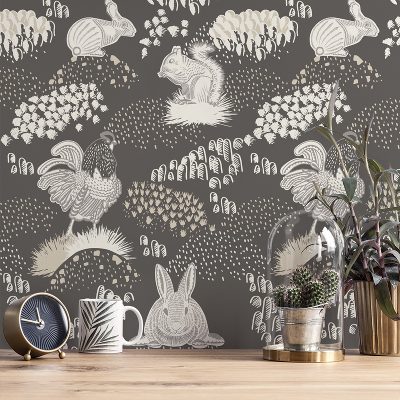 Foraging - Carbon <br> Elizabeth Salonen - Trendy Custom Wallpaper | Contemporary Wallpaper Designs | The Detroit Wallpaper Co.