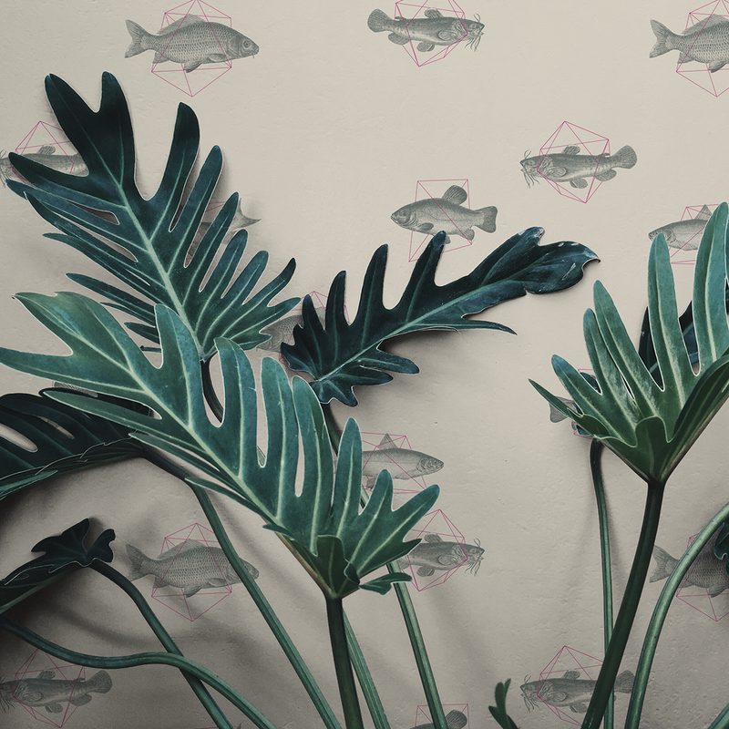 Geo Fish - Delta - Trendy Custom Wallpaper | Contemporary Wallpaper Designs | The Detroit Wallpaper Co.