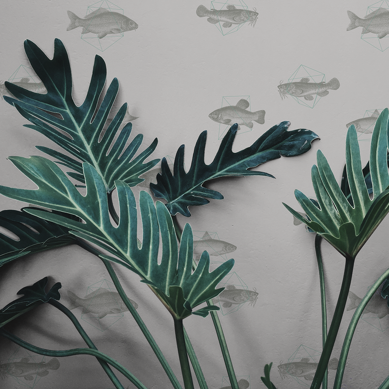 Geo Fish - Sediment - Trendy Custom Wallpaper | Contemporary Wallpaper Designs | The Detroit Wallpaper Co.
