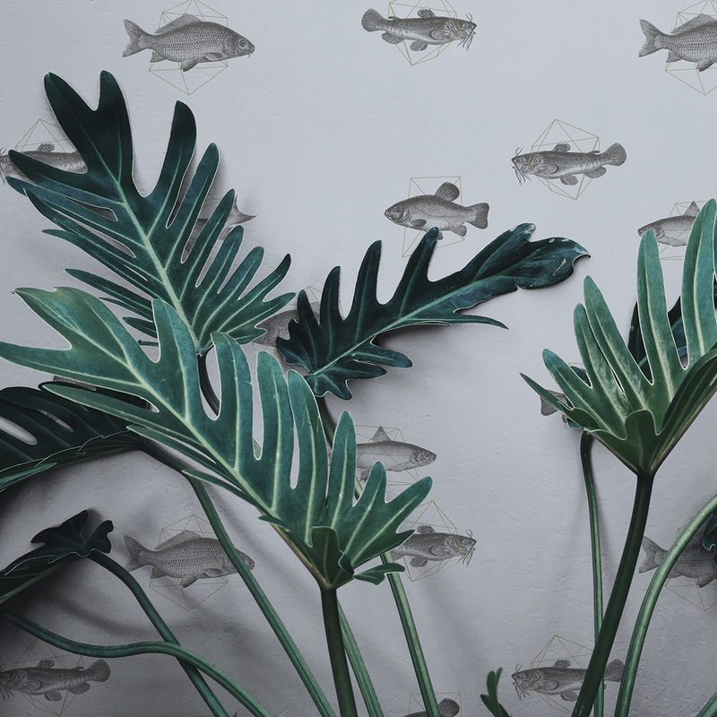 Geo Fish - Tidal - Trendy Custom Wallpaper | Contemporary Wallpaper Designs | The Detroit Wallpaper Co.