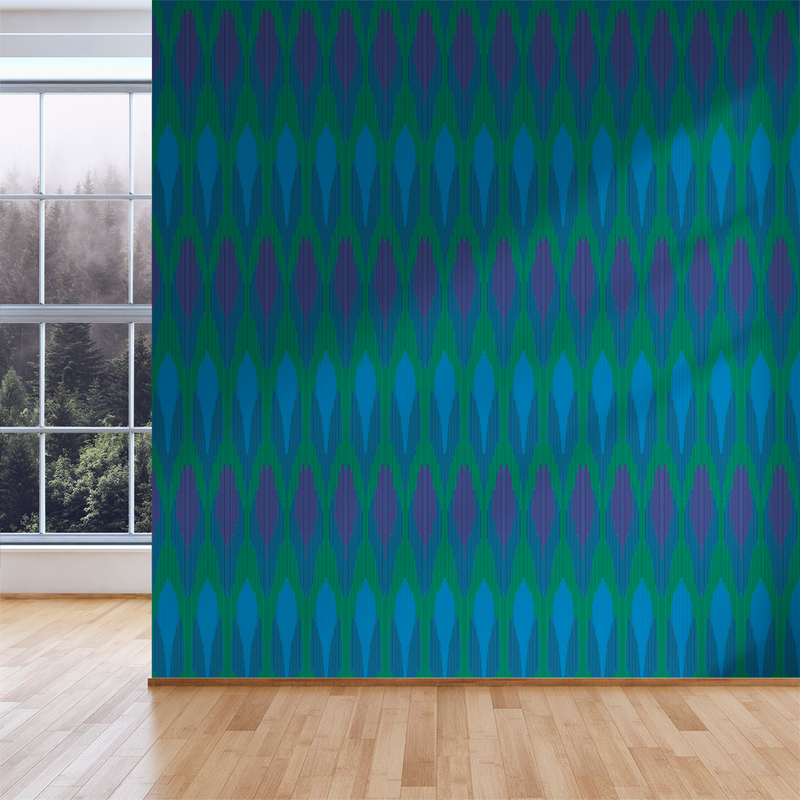Ikat - Peacock - Trendy Custom Wallpaper | Contemporary Wallpaper Designs | The Detroit Wallpaper Co.