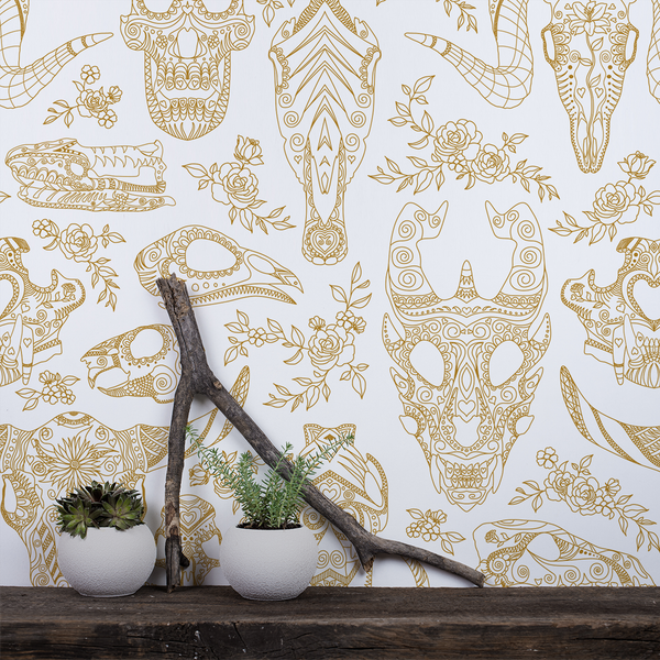 Inked - Golden - Trendy Custom Wallpaper | Contemporary Wallpaper Designs | The Detroit Wallpaper Co.