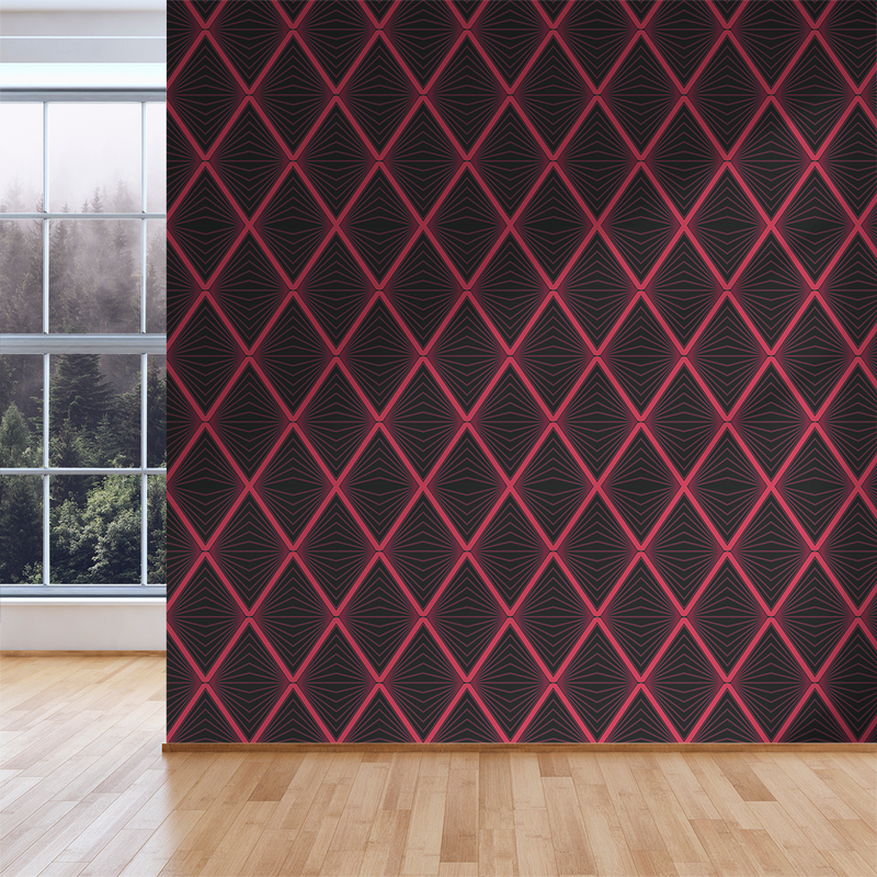 Inner Diamond - Rouge - Trendy Custom Wallpaper | Contemporary Wallpaper Designs | The Detroit Wallpaper Co.