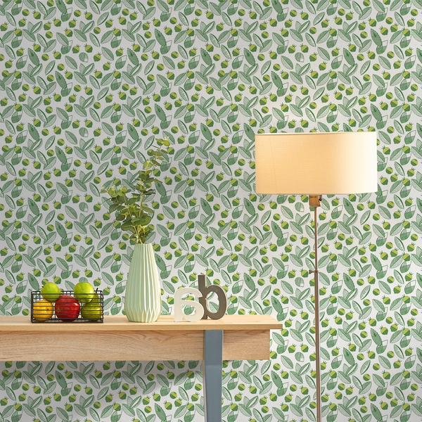 Leaves and Berries - Lund <br> Elizabeth Salonen - The Detroit Wallpaper Co.
