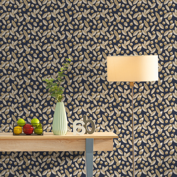Leaves and Berries - Stockholm <br> Elizabeth Salonen - Trendy Custom Wallpaper | Contemporary Wallpaper Designs | The Detroit Wallpaper Co.