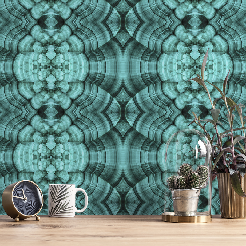 Malachite - Azul - Trendy Custom Wallpaper | Contemporary Wallpaper Designs | The Detroit Wallpaper Co.