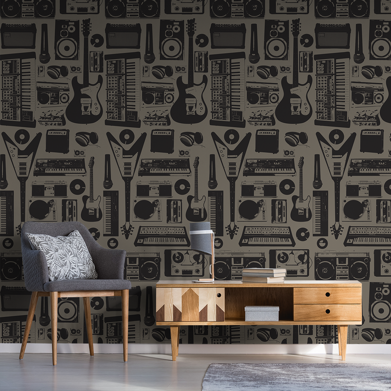 MusicWall - Garage - Trendy Custom Wallpaper | Contemporary Wallpaper Designs | The Detroit Wallpaper Co.