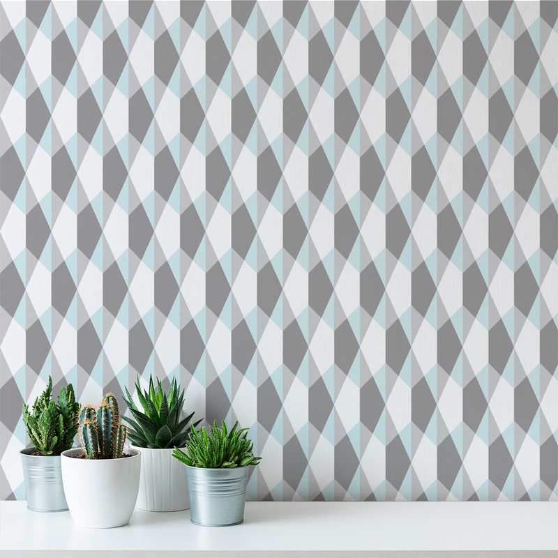 Origami - Cool Blue - Trendy Custom Wallpaper | Contemporary Wallpaper Designs | The Detroit Wallpaper Co.