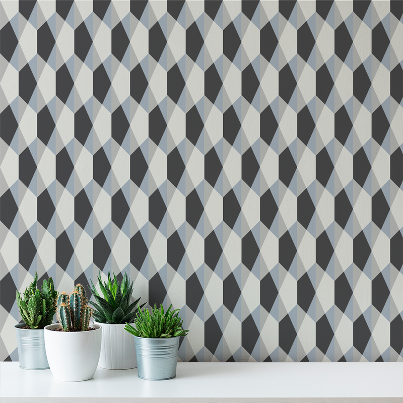 Origami - Slate - Trendy Custom Wallpaper | Contemporary Wallpaper Designs | The Detroit Wallpaper Co.