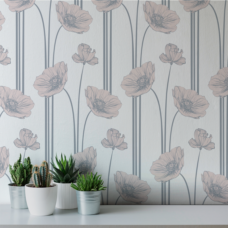 Poppy - Bisque - Trendy Custom Wallpaper | Contemporary Wallpaper Designs | The Detroit Wallpaper Co.