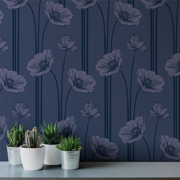 Poppy - Blues - Trendy Custom Wallpaper | Contemporary Wallpaper Designs | The Detroit Wallpaper Co.
