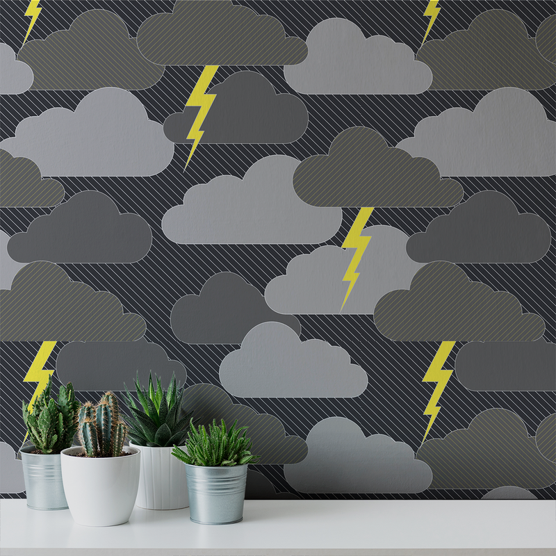 Rainy Days & Mondays - Stormy - Trendy Custom Wallpaper | Contemporary Wallpaper Designs | The Detroit Wallpaper Co.