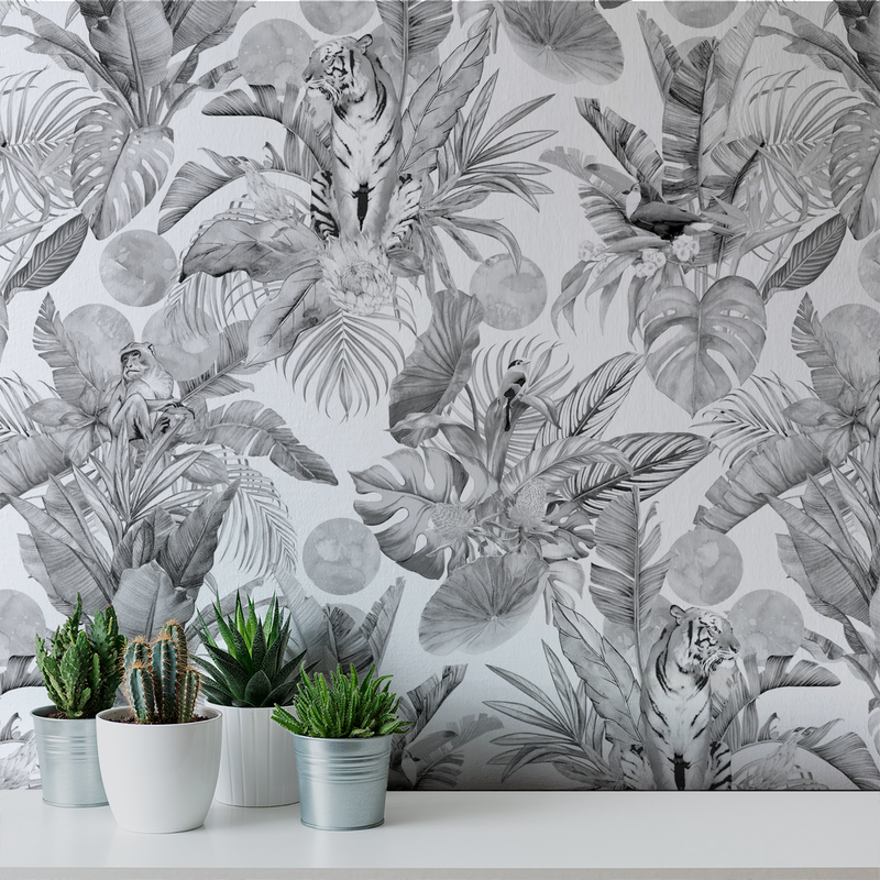 Stalk - Charcoal - Trendy Custom Wallpaper | Contemporary Wallpaper Designs | The Detroit Wallpaper Co.