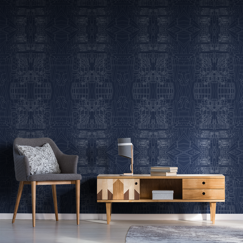 The Line - Blueprint - Trendy Custom Wallpaper | Contemporary Wallpaper Designs | The Detroit Wallpaper Co.