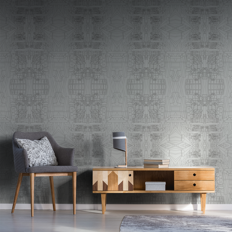 The Line - Charcoal - Trendy Custom Wallpaper | Contemporary Wallpaper Designs | The Detroit Wallpaper Co.