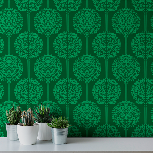 Topiary - Emerald - Trendy Custom Wallpaper | Contemporary Wallpaper Designs | The Detroit Wallpaper Co.
