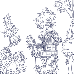 Tree House - Ballpoint - Trendy Custom Wallpaper | Contemporary Wallpaper Designs | The Detroit Wallpaper Co.