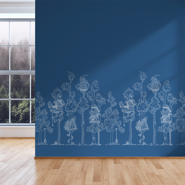Tree House - Blueprint - Trendy Custom Wallpaper | Contemporary Wallpaper Designs | The Detroit Wallpaper Co.