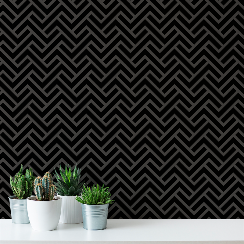 Turnkey Chevron - Dark - Trendy Custom Wallpaper | Contemporary Wallpaper Designs | The Detroit Wallpaper Co.