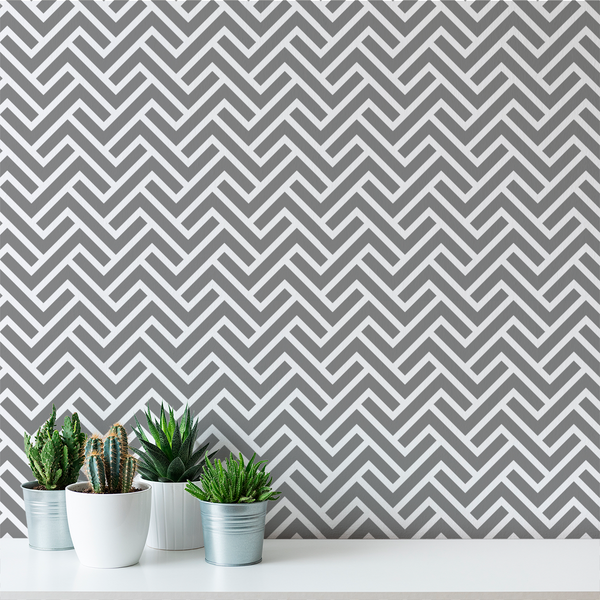 Turnkey Chevron - Iron - Trendy Custom Wallpaper | Contemporary Wallpaper Designs | The Detroit Wallpaper Co.