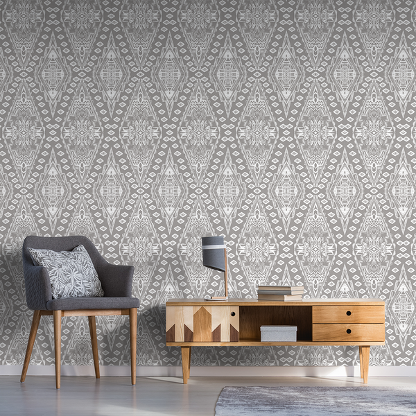 Uma - Stark White - Trendy Custom Wallpaper | Contemporary Wallpaper Designs | The Detroit Wallpaper Co.
