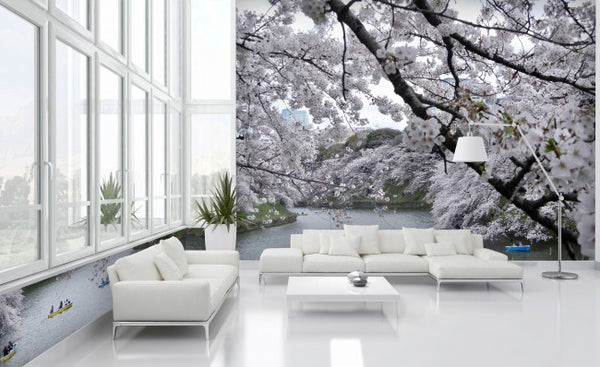 White Blossoms - Trendy Custom Wallpaper | Contemporary Wallpaper Designs | The Detroit Wallpaper Co.