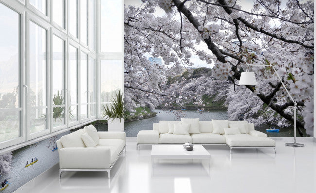 White Blossoms <br> Brenda Rosenberg - Trendy Custom Wallpaper | Contemporary Wallpaper Designs | The Detroit Wallpaper Co.