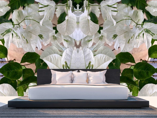 White Flowers <br> Brenda Rosenberg - Trendy Custom Wallpaper | Contemporary Wallpaper Designs | The Detroit Wallpaper Co.