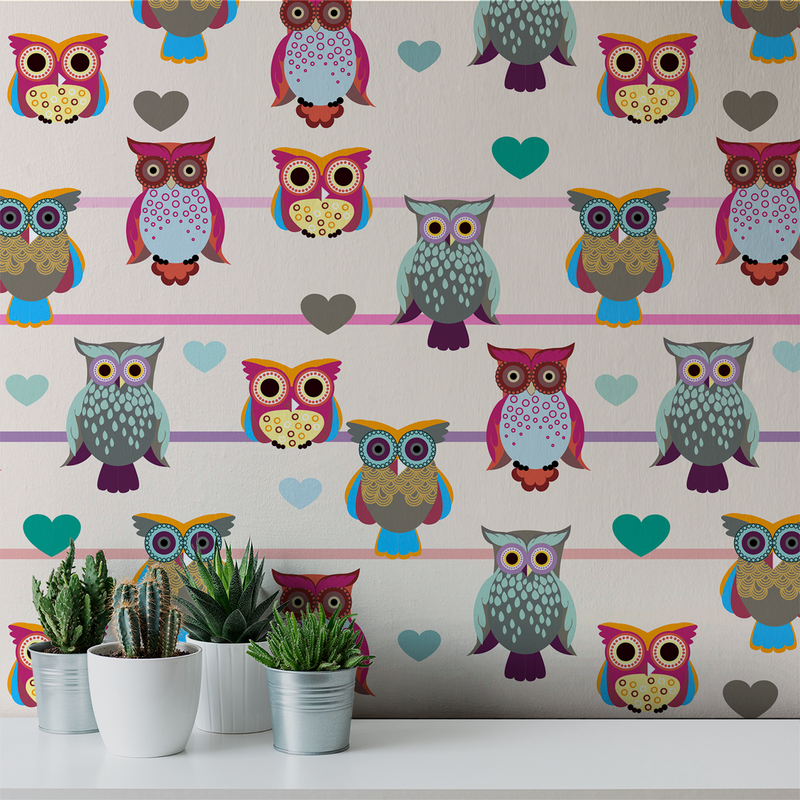 Whoot - Tea Party - Trendy Custom Wallpaper | Contemporary Wallpaper Designs | The Detroit Wallpaper Co.