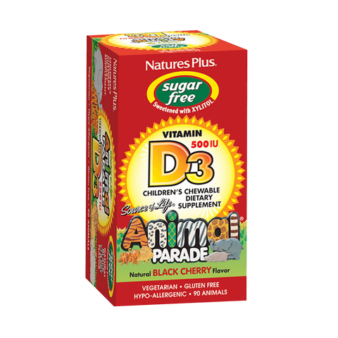 Animal Parade Sugar Free Vitamin D3 500 IU Children's Chewable - Black Cherry Flavor