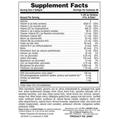 Animal Parade VitaGels with Whole Food Concentrates Supplement Facts